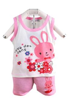 Bộ đồ mùa hè cho bé gái Family Shop TEH52 (Hồng)
