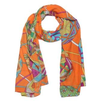 Cyber New Fashion Women Novel Printing Long Soft Casual Lightweight Silk Feeling Chiffon Voile Ccarf ( Deep green ) - intl