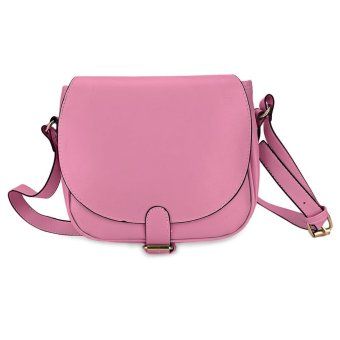 Women Bucket Bag Ellipse Shape Pure Color with Multifunctional Strap (Rose Red) - intl