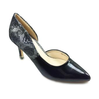 Giày bít nữ cao gót 7f phối da rắn cách điệu