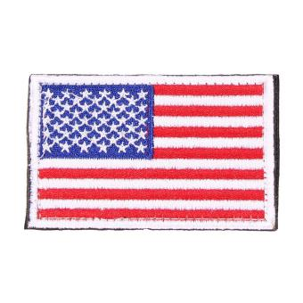 AMERICAN FLAG Embroidered Patch Patriotic USA Military Patch red white - intl