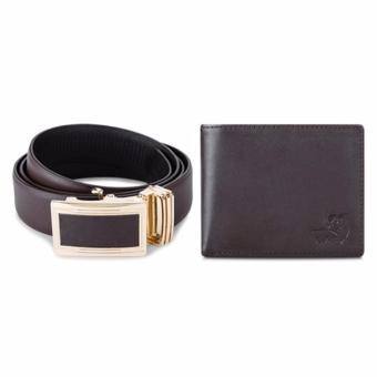Bộ ví và thắt lưng nam da thật LAKA LKCB02 ( Nâu trơn )