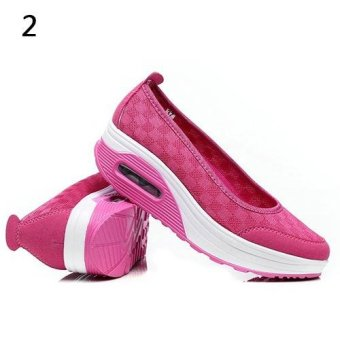 Bluelans Women's Fashion Mesh Breathable Wedges Spot Shake Fitness Sport Shoes 38 (Pink) - intl