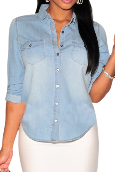 Women's Tailored Western Denim Shirt Lapel V Neck Fold Long Sleeve Blouse Light Blue XL - intl