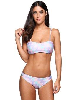 Sunweb Spaghetti Strap Striped Bandage Bikini Set Swimwear ( Pink & Purple ) - intl