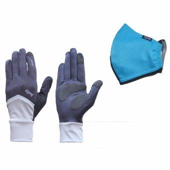 Bộ gồm găng tay Nonstop+ khẩu trang nhỏ chống nắng UPF50+ zigzag COGM20 (xám đen+xanh da trời)