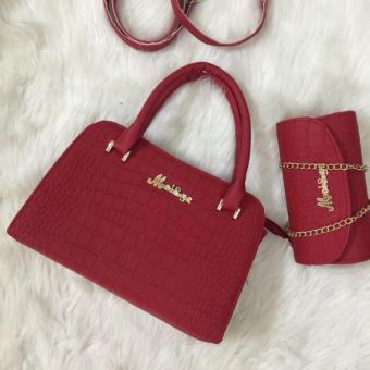 Bộ 2 túi xách cao thời trang vân cá sấu (Đỏ)
