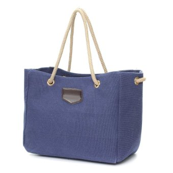 Fashion Women Casual Canvas Shopping Bag Handbag Shoulder Tote Messenger Pouch Blue - intl