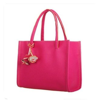 Contrast Color Retro Handbags Casual Shoulder Bags Dark Rose Red - Intl