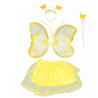 4 PCS/Set Cute Butterfly Wings Style Children Kids Wing Wand Headband Dresses Girl Fairy Stage Costume for Halloween Cosplay School Show Party Yellow