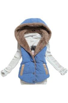 Cyber Women Plus Size Slim Jacket Hoodie Vest Coat Waistcoat (Blue) - intl