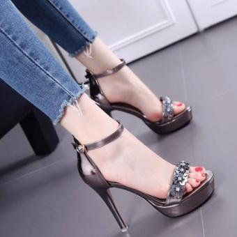 Giày Cao Gót Nữ Quai Ngang Đính Hoa - LN1260 - Xám