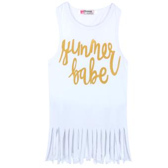 Girl Summer Sleeveless Tassel T-Shirt Dress - intl