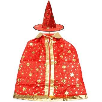 Boys Girls Kids Children Wizard Magician Fancy Dress Book Week Halloween Costume Red NEW - intl
