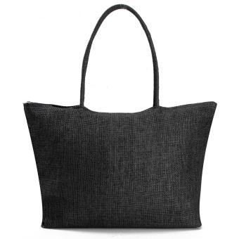 Teamwin Women Summer Straw Weave Shoulder Tote Shopping Lady Beach Bag Purse Handbag HOT Black - Intl