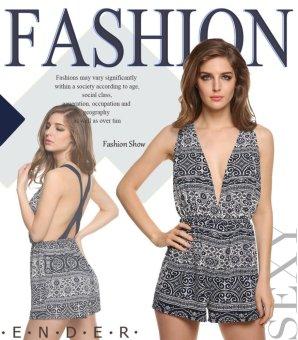 Sunweb New Stylish Finejo Women Casual Sleeveless Deep V Neck Backless Floral Jumpsuit Bodysuit ( Blue ) - intl
