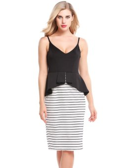 Sunweb Women Sexy V-Neck Striped Patchwork Elastic Ruffle Brim Adjustable Spaghetti Straps Dress ( Black ) - intl