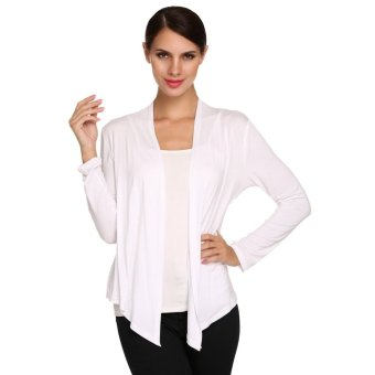 Cyber 2016 Women Casual Light Weight Open Front Cardigan Knitted Sweater (White) - Intl