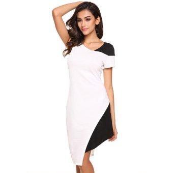 Sunweb Meaneor Fashion Ladies Women Asymmetric Collar Short Sleeve Patchwork Irregular Hem Bodycon Dress ( White ) - intl