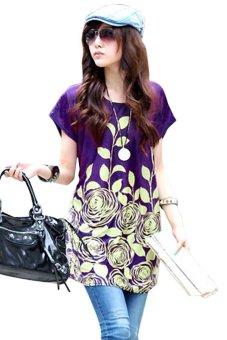 Loose Flower Print Mini Dress (Purple) - Intl