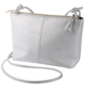 Ladies Retro Solid Color Zipper Multi Functional Shoulder Cross Body Bag(Silver) - Intl
