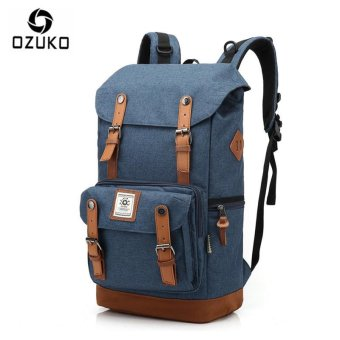OZUKO Casual Men's Backpack Waterproof Oxford Drawstring Bag Laptop Computer Bag Fashion Student School Bag Travel Bag (Grey) - intl
