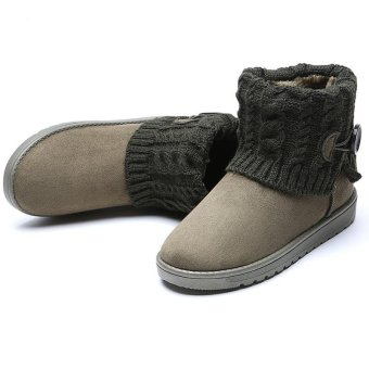 LALANG Women Snow Boot Ankle Short Boots Winter Warm Platform Shoes Army Green - intl