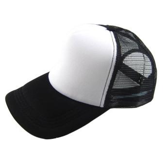 Casual Hat Solid Baseball Cap Trucker Mesh Blank Visor Hat Black/White