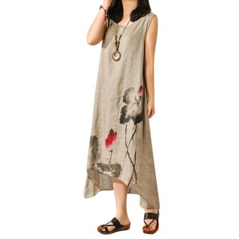 Women Loose Cotton Linen Sundress Tank Dress (Grey) - intl