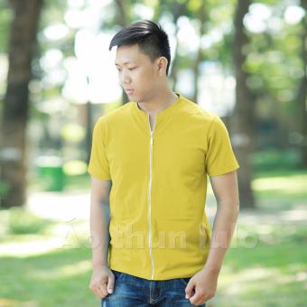 Áo thun nam cổ tròn dây kéo dài - Tay ngắn (Vàng nhạt)