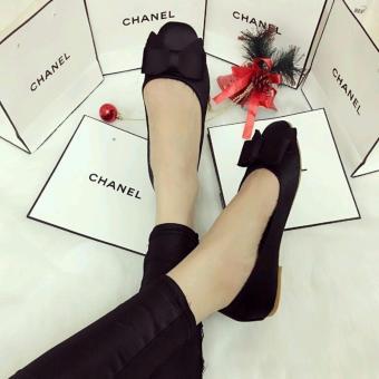 Giày Búp Bê Nơ Lụa (Đen)