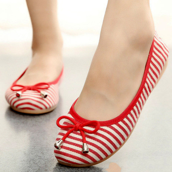 Giày nữ sọc Đỏ sọc Trắng dễ thương đáng yêu đôi chân - 162 (Đỏ)