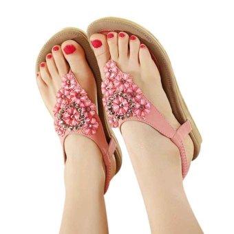 Women's Fashion Sweet Beaded Clip Toe Flats Bohemian Herringbone Sandals - intl
