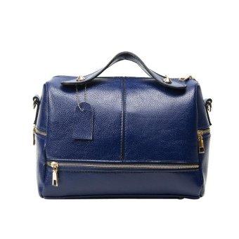 New Women Handbag PU Leather Shoulder Bag (Dark Blue) - intl