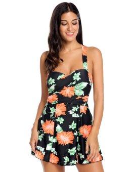 Cyber Women Sexy One-piece Padded Floral Cross Swimdress Swimsuit ( Orange ) - intl