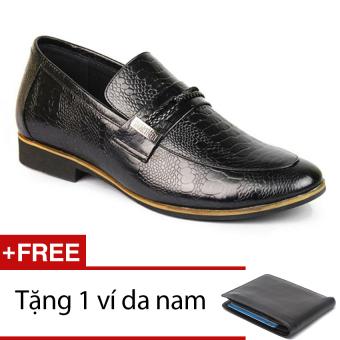 Giày da nam tăng chiều cao phong cách SMARTMEN GL-14 (Đen) + Tặng 1 ví da nam
