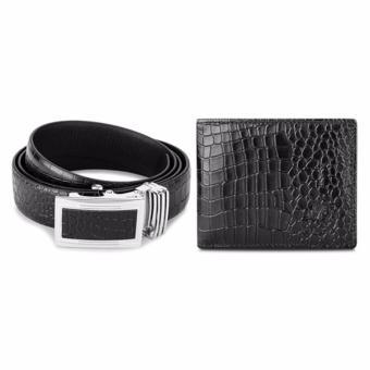 Bộ ví và thắt lưng LAKA LKCB03 ( Đen vân cá sấu )