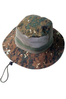2 in 1 Unisex Adults Camouflage Wide Brim Sun Protection Bucket Hat Cowboy hat Cap with Adjustable Chin Cord