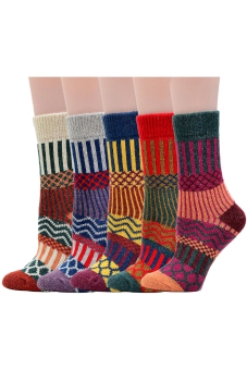 5 Pairs of Women Ladies Girls Mixed Colors Winter Warm Thickness National Style Tube Socks