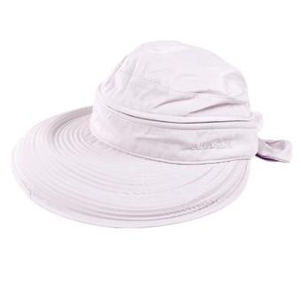 Detachable Women Summer Golf Anti-UV Wide Visor Brim Bowknot Beach Sun Hat Cap Light Purple - Intl