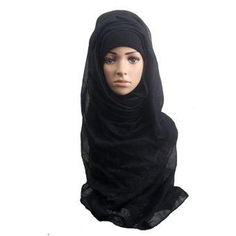 Fashion Muslim Women Shawl Scarf Head Cover Headscarf Muffler Black