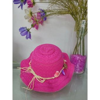 Mũ thời trang bé gái kết Hoa Sò - Hồng đậm