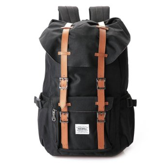 Unisex Solid Pattern Soft Nylon Backpack (Black) - Intl