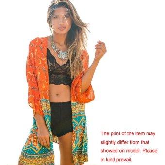 New Women Chiffon Outerwear Open Front Geometric Print Batwing 3/4 Sleeves Thin Vintage Loose Cardigan Coat Orange - intl