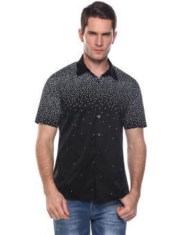 Linemart Mens Casual Turn Down Collar Short Sleeve Print Button Shirt ( Black ) - intl