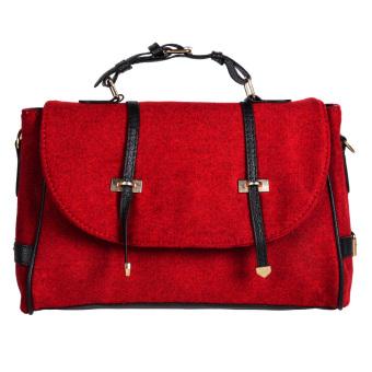 Women Handbag Shoulder Bags Tote Purse Faux Leather Hobo Messenger Red - intl