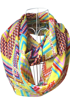 Women Ladies Girls Chiffon Waves Geometric Pattern Printing Scarf Multicolor Infinity Loop Circle Scarf Yellow