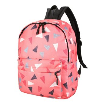 Women Recreation Travel Canvas Triangular Geometry Satchel School Bag Backpack Pink - intl