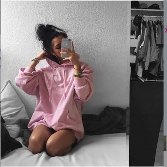 Hoodies Sweats Europe USt foreign trade new long sleeved womens hooded printing sweater (Pink) - intl