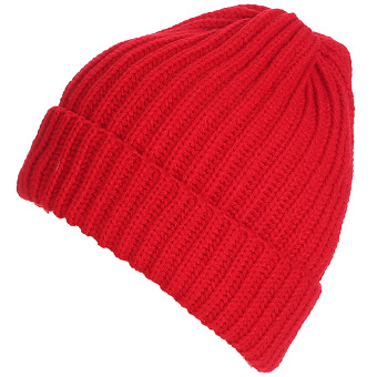 Unisex Solid Color Vertical Stripe Thick Beanie Knitted Warm Fall Winter Ski Cap Hat Red - intl